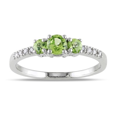Round Cut Peridot 925 Sterling Silver 3-Stone Birthstone Rings