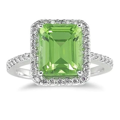 Emerald Cut Peridot 925 Sterling Silver Halo Birthstone Rings