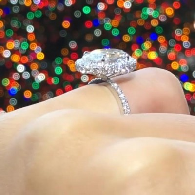 17.1CT Oval Cut White Sapphire 925 Sterling Silver Halo Engagement Rings