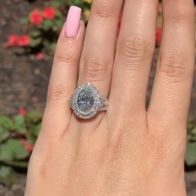 10.65CT Oval Cut White Sapphire 925 Sterling Silver Double Halo Engagement Rings