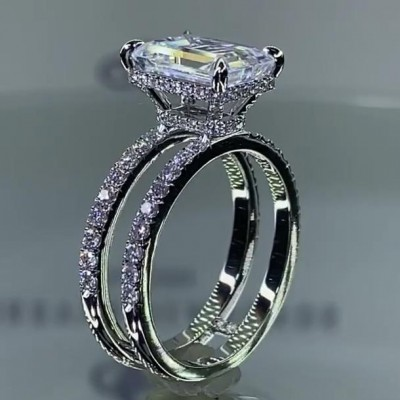 7.4 Carat Emerald Cut White Sapphire 925 Sterling Silver Engagement Rings