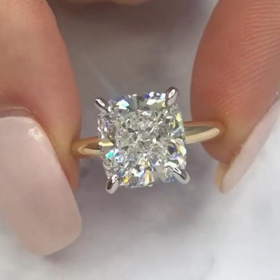 12.4CT Cushion Cut White Sapphire 925 Sterling Silver Gold Engagement Rings