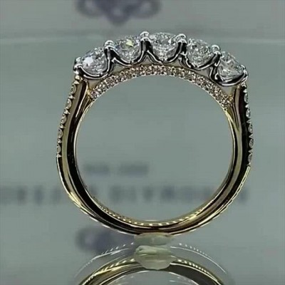 1.65CT Round Cut White Sapphire 925 Sterling Silver Gold Engagement Rings