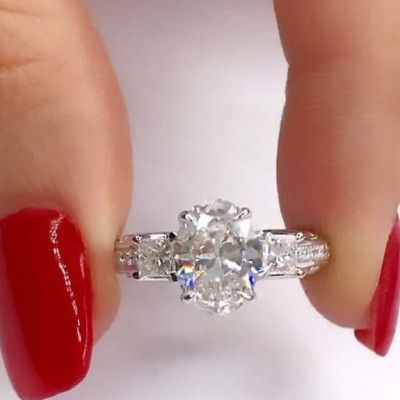 4.3CT Oval Cut White Sapphire 925 Sterling Silver 3-Stone Engagement Rings