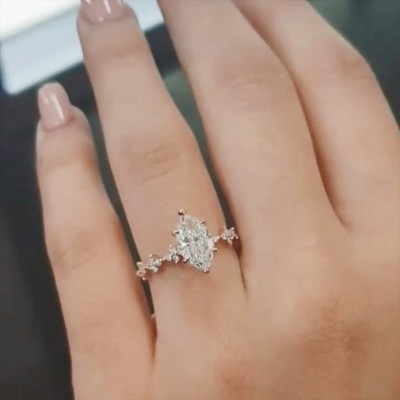 Marquise Cut 2.55 Carat White Sapphire 925 Sterling Silver Rose Gold Engagement Rings