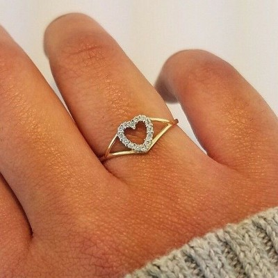 Round Cut White Sapphire Gold 925 Sterling Silver Promise Rings Engagement Rings