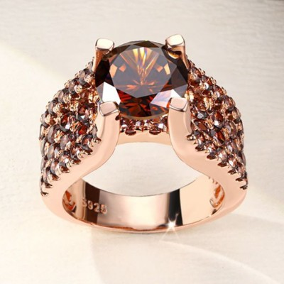 Round Cut Chocolate 925 Sterling Silver Rose Gold Engagement Rings