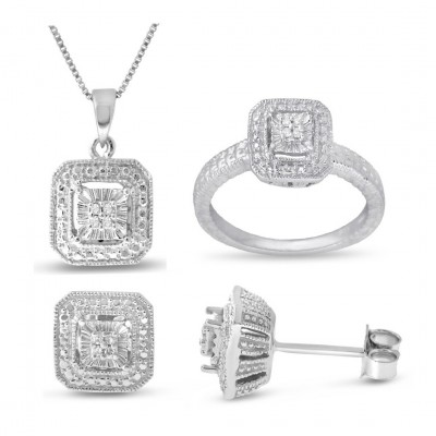 Square White Sapphire 3-piece Jewelry Set in 925 Sterling Silver