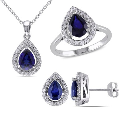 925 Sterling Silver Created Pear Cut Blue Sapphire 3-piece Jewelry Set