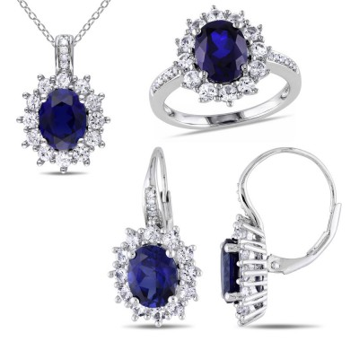 925 Sterling Silver Created Oval Cut Blue Sapphire 3-piece Jewelry Set