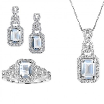 925 Sterling Silver Created Emerald Cut White Sapphire 3-piece Jewelry Set