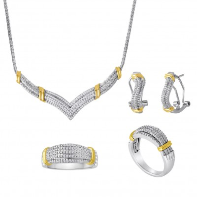 925 Sterling Silver Created White Sapphire Two-Tone 3-piece Jewelry Set