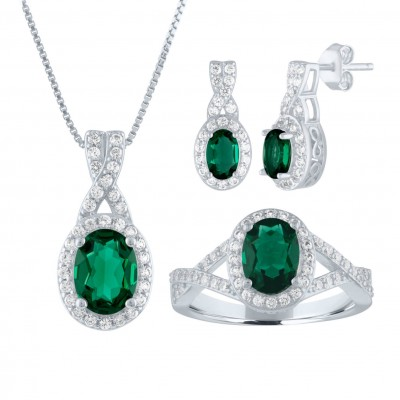 925 Sterling Silver Created Oval Cut Emerald 3-piece Jewelry Set