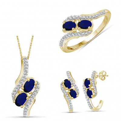925 Sterling Silver Gold Created Oval Cut Blue Sapphire 3-piece Jewelry Set