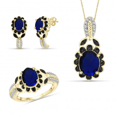 925 Sterling Silver Created Gold Oval Cut Black and Blue Sapphire 3-piece Jewelry Set