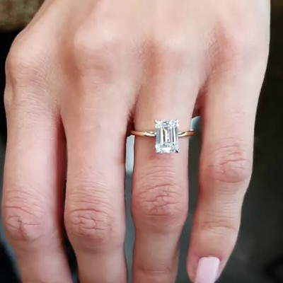 Emerald Cut White Sapphire 925 Sterling Silver Gold Engagement Rings