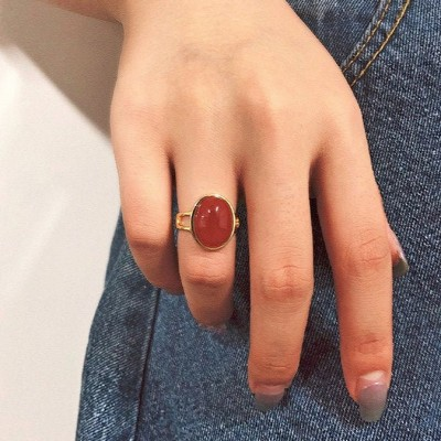 Solitaire Oval Cut 925 Sterling Silver Gold Carnelian Ring