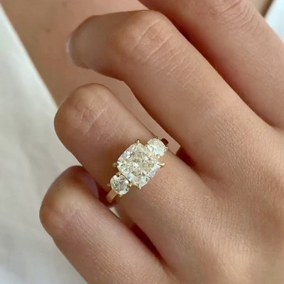 Cushion Cut White Sapphire 925 Sterling Silver Gold 3-Stone Engagement Rings