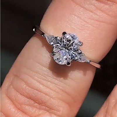 Oval Cut White Sapphire 925 Sterling Silver Classic Engagement Rings