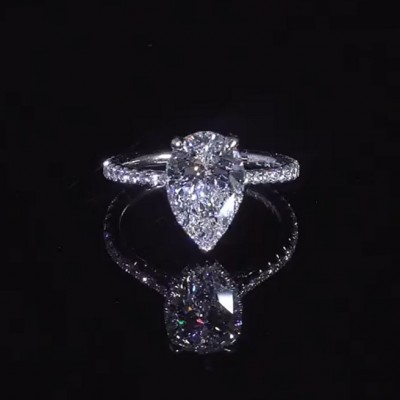 4.7 Carat Pear Cut White Sapphire 925 Sterling Silver Halo Engagement Rings