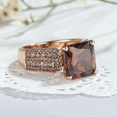 3.01CT Princess Cut Chocolate 925 Sterling Silver Rose Gold Engagement Rings