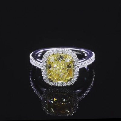 Cushion Cut Yellow Topaz 925 Sterling Silver Halo Engagement Rings