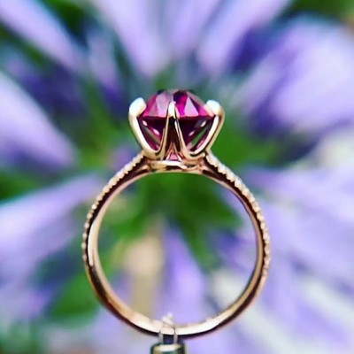5.8CT Oval Cut Amethyst 925 Sterling Silver Rose Gold Engagement Rings