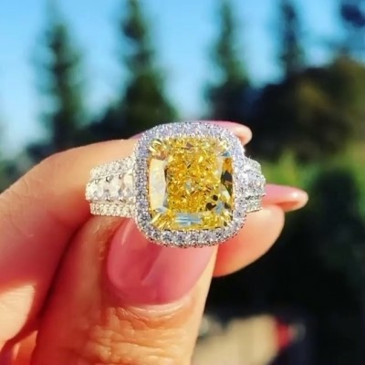 Radiant Cut Yellow Topaz 925 Sterling Silver Halo Engagement Rings