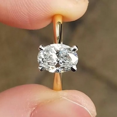 Oval Cut White Sapphire 925 Sterling Silver Gold Solitaire Engagement Rings