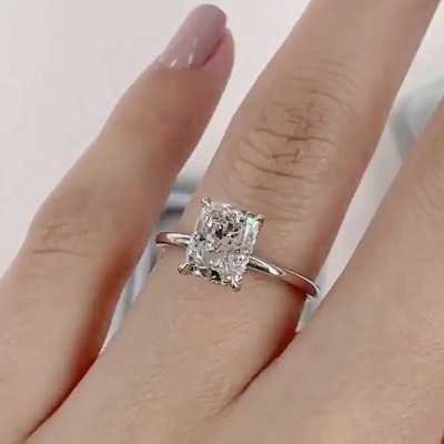 Radiant Cut White Sapphire 925 Sterling Silver Solitaire Engagement Rings
