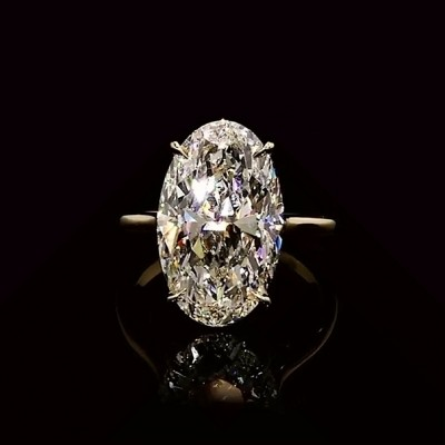 6.1CT Oval Cut White Sapphire 925 Sterling Silver Gold Engagement Rings
