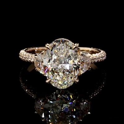 Oval Cut White Sapphire 925 Sterling Silver Gold 3-Stone Engagement Rings
