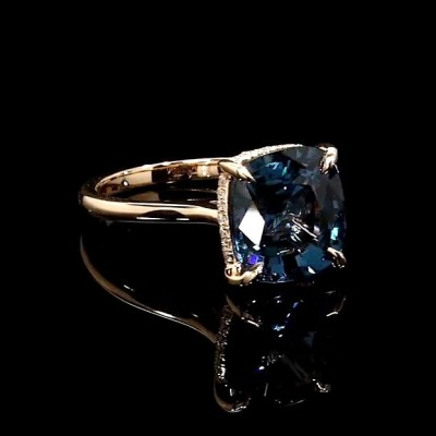 Cushion Cut Blue Sapphire 925 Sterling Silver Gold Halo Engagement Rings
