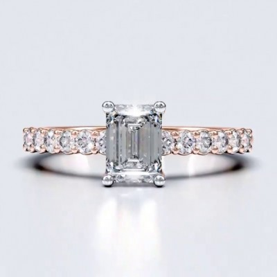 Emerald Cut White Sapphire Rose Gold 925 Sterling Silver Engagement Rings