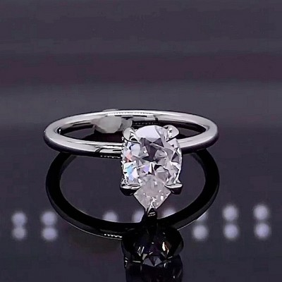 Pear Cut White Sapphire 925 Sterling Silver Classic Engagement Rings