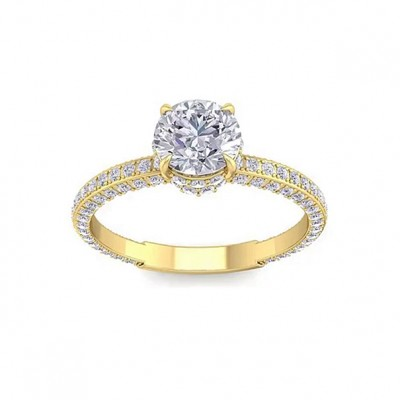 3.75CT Round Cut White Sapphire 925 Sterling Silver Gold Engagement Rings