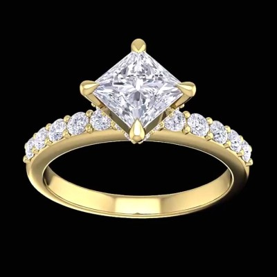 Princess Cut White Sapphire 925 Sterling Silver Gold Engagement Rings