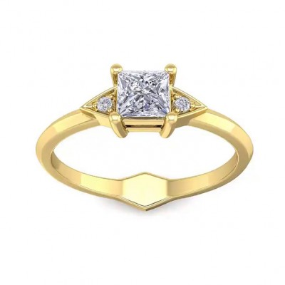 3.03CT Princess Cut White Sapphire 925 Sterling Silver Gold 3-Stone Engagement Rings