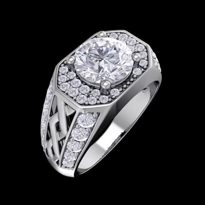 4.6CT Round Cut White Sapphire 925 Sterling Silver Halo Engagement Rings