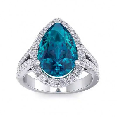 7.8CT Pear Cut Aquamarine 925 Sterling Silver Halo Engagement Rings