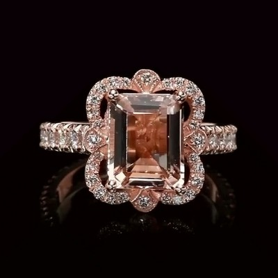 Emerald Cut Champagne Sapphire 925 Sterling Silver Rose Gold Engagement Rings