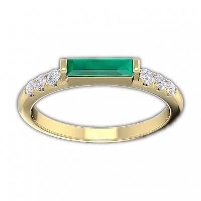 Baguette Cut Emerald 925 Sterling Silver Gold Engagement Rings