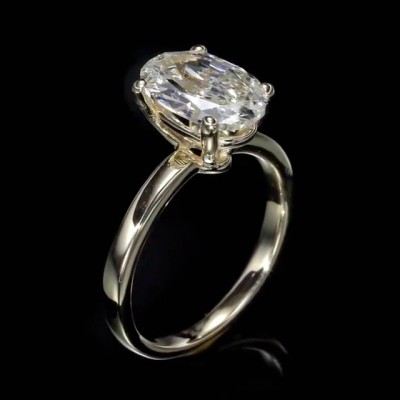 Oval Cut White Sapphire 925 Sterling Silver Gold Engagement Rings