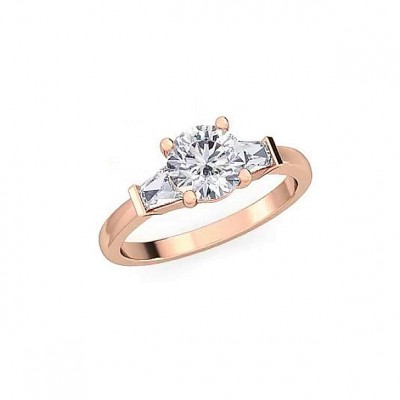 3.1CT Round Cut White Sapphire 925 Sterling Silver Rose Gold 3-Stone Engagement Rings