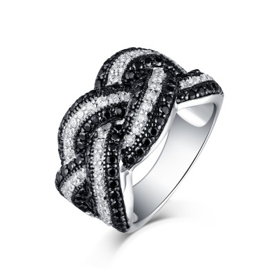 Round Cut Black & White Sapphire S925 Silver Wedding Bands