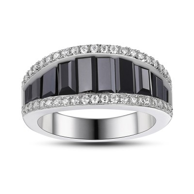 Black Sapphire 925 Sterling Silver Women's Wedding Bands