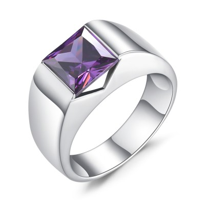 Asscher Cut Amethyst 925 Sterling Silver Engagement Ring