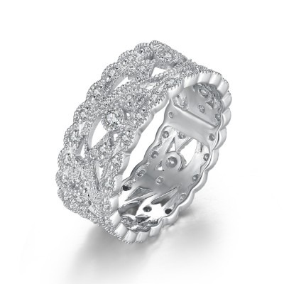 Fabulous White Sapphire 925 Sterling Silver Women's Engagement Ring