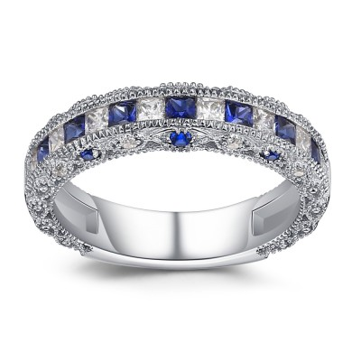Princess Cut Sapphire 925 Sterling Silver Women's Wedding Bands