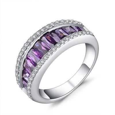 Round Cut Amethyst 925 Sterling Silver Women S Wedding Bands